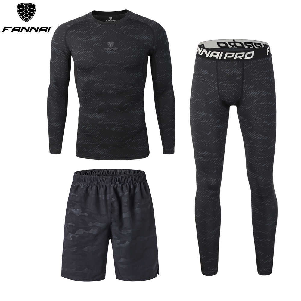 Nieuwe Professionele 3 PCS mannen Compressie Running Sportkleding Basketbal Training Fitness Jogging Strakke T-Shirts + Broek + shorts 3XL