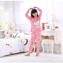 New Kids sleepwear Children warm underwear suits girls long sleeved long johns pajamas set of two 5-13 years old free shipping
