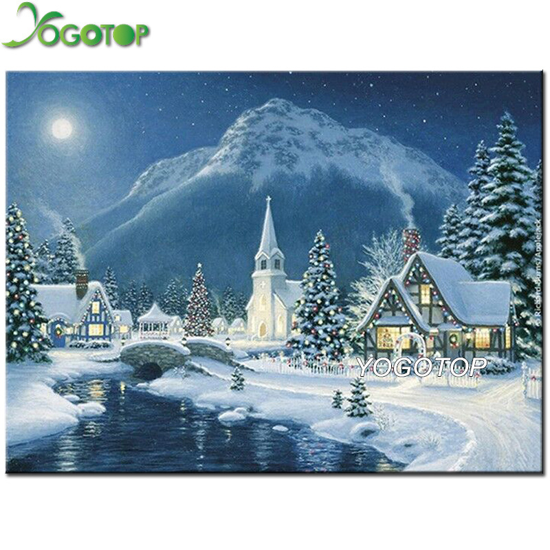 Arts,crafts & Sewing Gentle Yogotop Full Diamond Embroidery Diy Diamond Painting Cross Stitch Kits Landscape Snow House 5d Diamond Mosaic Christmas Qa153 Comfortable And Easy To Wear Needle Arts & Crafts