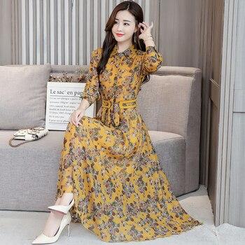 1785c1f694d17d8 1577 #2019 весеннее Новое Женское Модное Элегантное шифоновое макси богемное  пляжное платье с длинными рукавами и отворотами женское платье .
