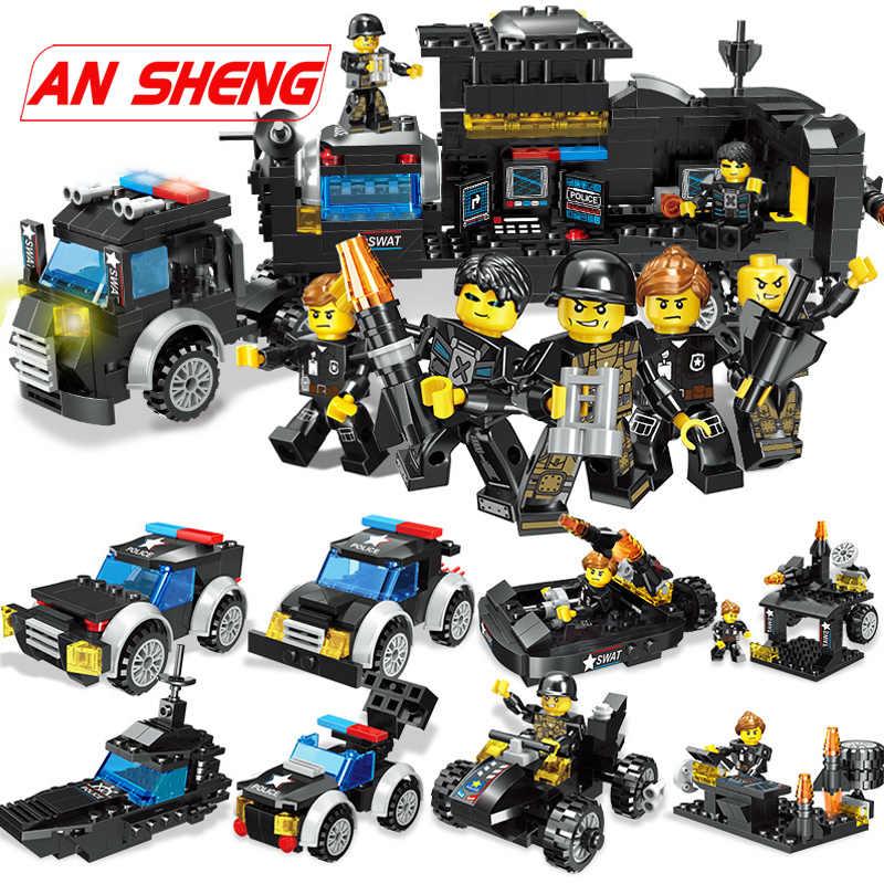 Новый спецназ городская полиция строительные блоки для грузовиков наборы корабль Вертолет машина создатель кирпичи Playmobil игрушки Детские подарки Legoes