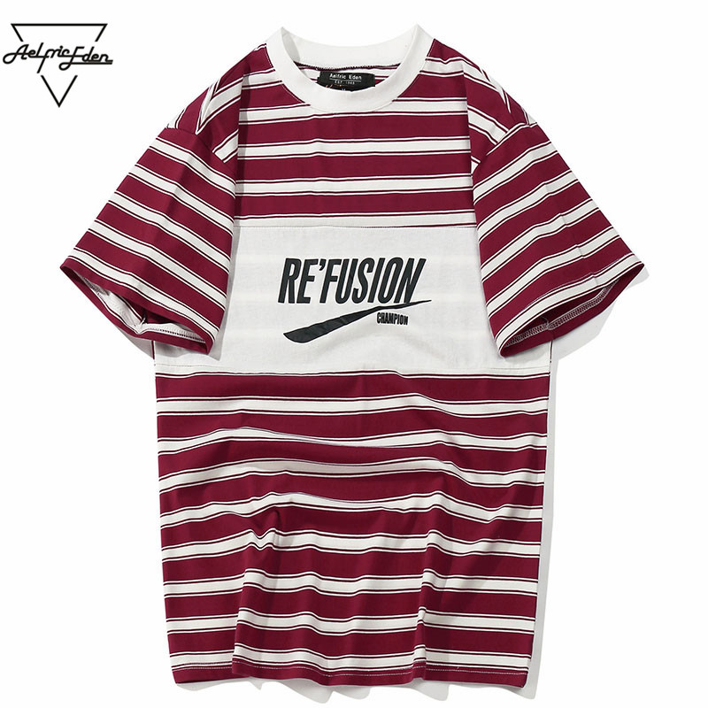Aelfric Eden Color Block Letter impreso rayas manga corta hombres camiseta Hip Hop Casual algodón Streetwear moda T-shirt As102