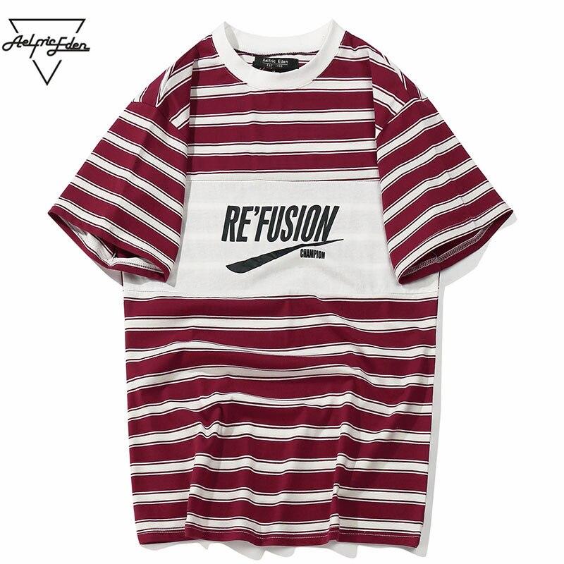 Aelfric Eden Farbe Block Brief Gedruckt Gestreiften Kurzarm Männer T Shirts Hip Hop Casual Baumwolle Streetwear Fashion T-shirt As102