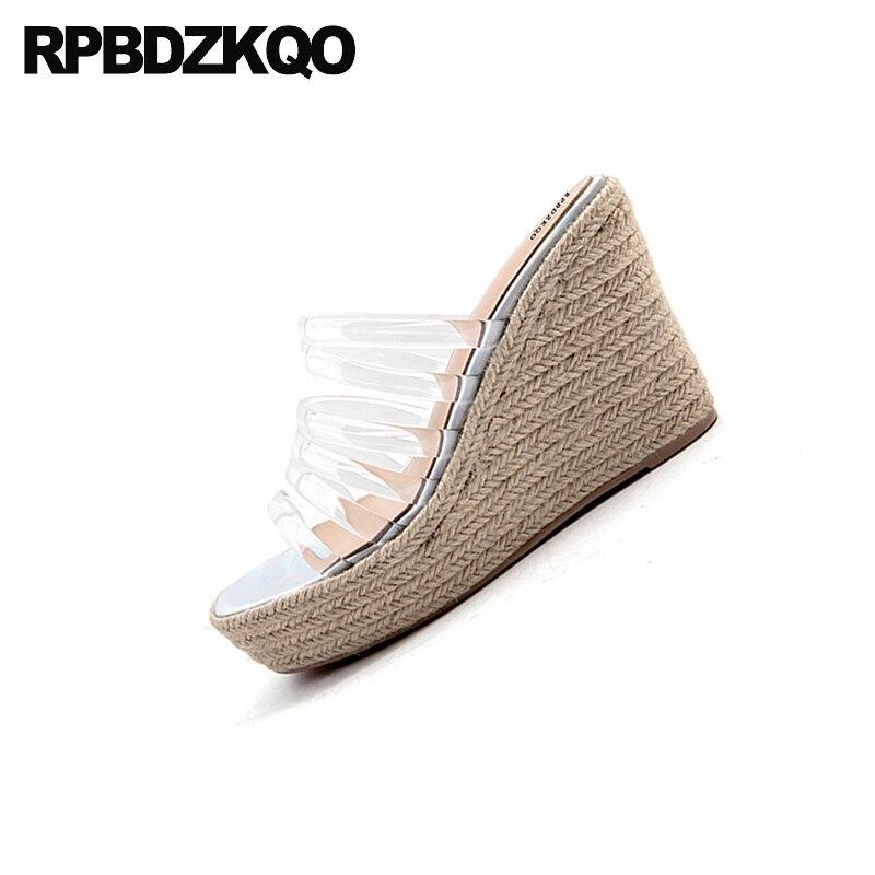 Pumps Slip On Transparent Strap Open Toe Women Fashion Designer Espadrilles 2018 Shoes Platform Wedge Sandals Summer Rope Pvc - 4