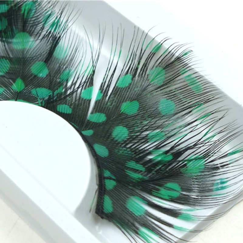 YOKPN Green False Eyelashes Exaggerated Cosmetic Party Fake Eye Lashes Nature Feather Eyelashes Extension Lashes Makeup Tips