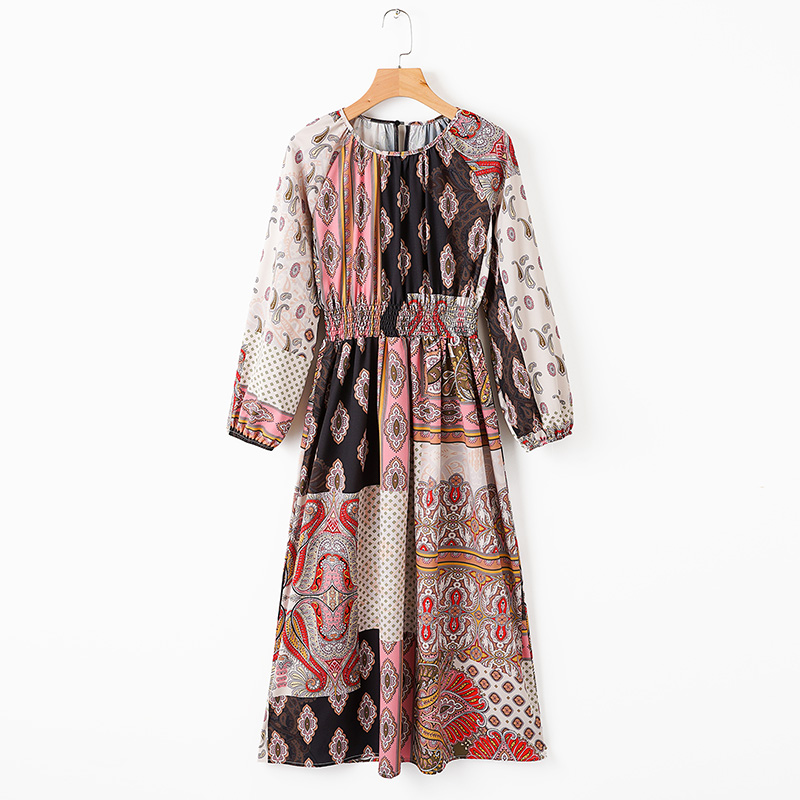 ZXQJVintage Floral Print Contrast Colors Patchwork Dress Streetwear Women-s Long Dresses Casual A-Line Vestidos