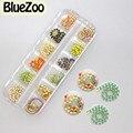 BlueZoo 12 Color Mezclado Cadena De Metal Brillante Glitter Clavo Largo Aleación Rhinestone Decoración Del Arte Del Clavo de DIY Consejos