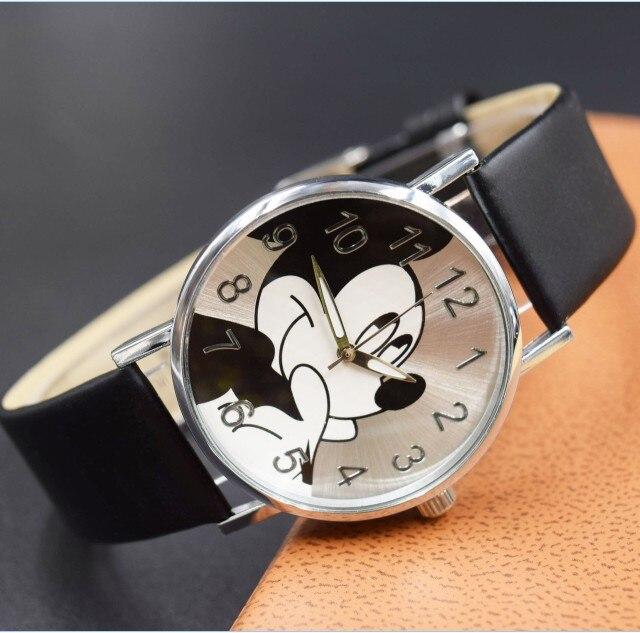 2018 New fashion Cartoon Beautiful girl Minnie mouse watch children students girl's leather quartz watches relogio kol saati
