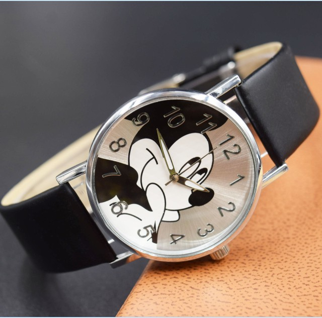 Cartoon Beautiful girl Minnie mouse style children students girl's leather quartz watch cartoon airplane style red