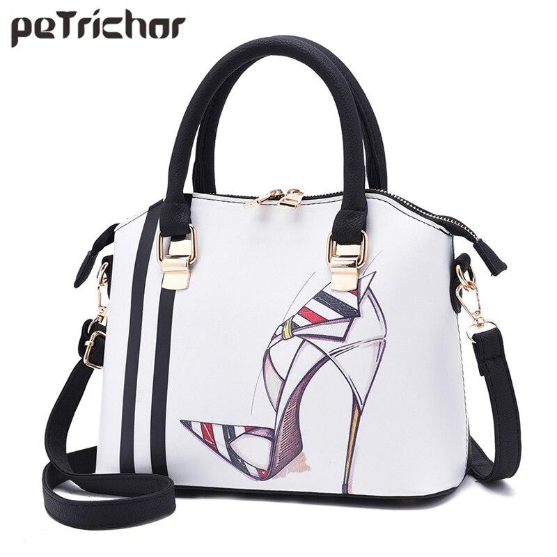 Fashion Shoes Pattern Women Handbag & Shoulder Bag -White Messenger Bag Ladies Tote Female Crossbody Purse PU Leather Sac shoulder bag