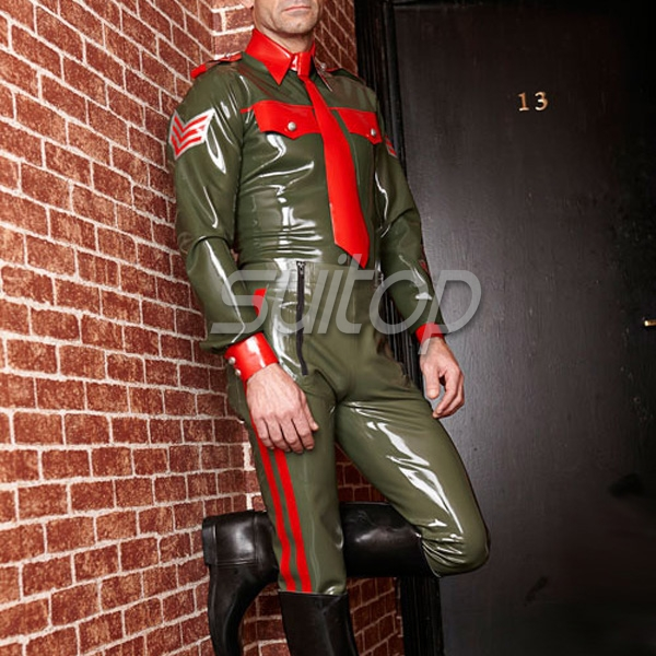 <font><b>sexy</b></font> latex uniform style RUBBER LATEX trousers costume military <font><b>cosplay</b></font> man male image