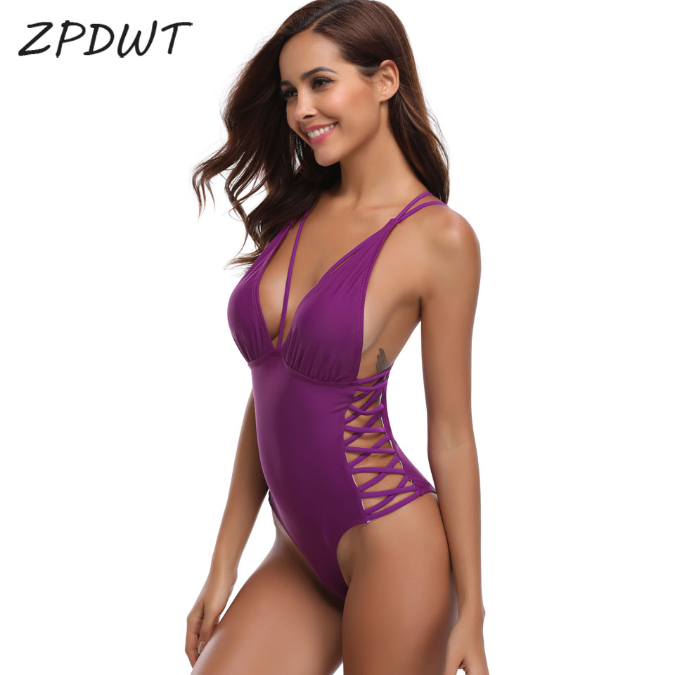все цены на ZPDWT Black Monokini Cut Out Swimwear Women Bandage Swim Bathing Suit Female Red One Piece Swimsuit Purple Beachwear Plavky 2018