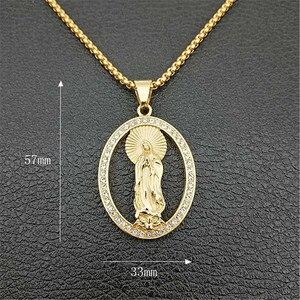 Image 3 - Хип хоп Iced Out Bling Virgin Mary золотые ожерелья и подвески Цвет Нержавеющая сталь ожерелье с Мадонной христианские ювелирные изделия XL1302