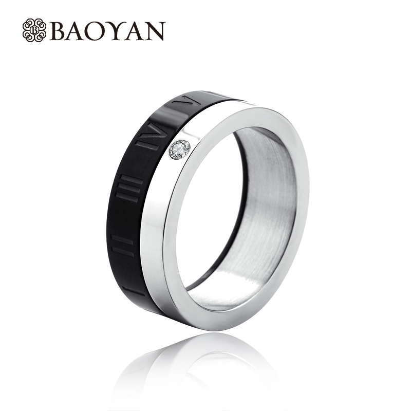 Special Design Black And White Engraving Ring For Women Men Stainless Steel Silver Plated Women Men Engagement Ring Hot Sale N2