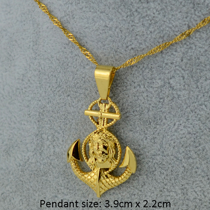 Anniyo Cross Jesus Anchor Pendant Necklace Women MenGold Color