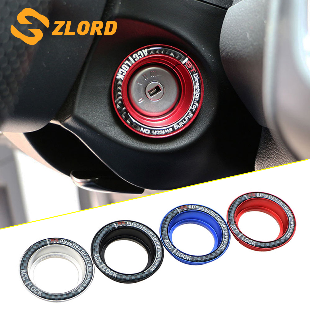 Zlord Car Ignition Key Switch Ring Trim Key Hole Circle Sticker For Ford Focus 2 3 4 MK2 MK3 MK4 Kuga Escape Everest Mondeo
