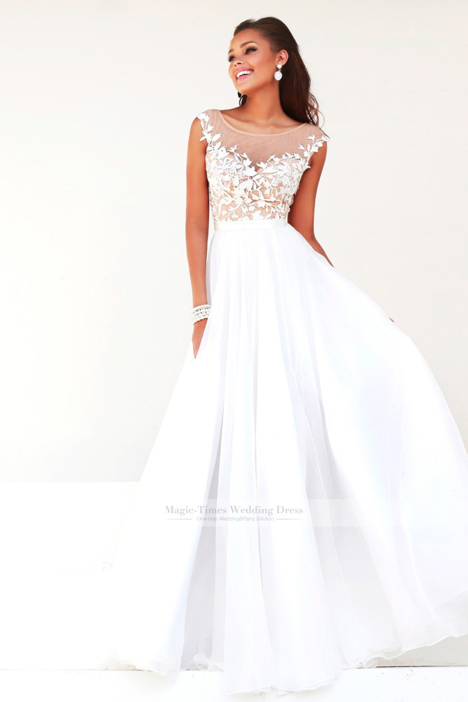 Fashion A Line Floor Length Gowns Sheer Illusion Neckline Lace Liques Throughout Bodice Tulle Skirt Long Prom Dresses 2017 In From Weddings