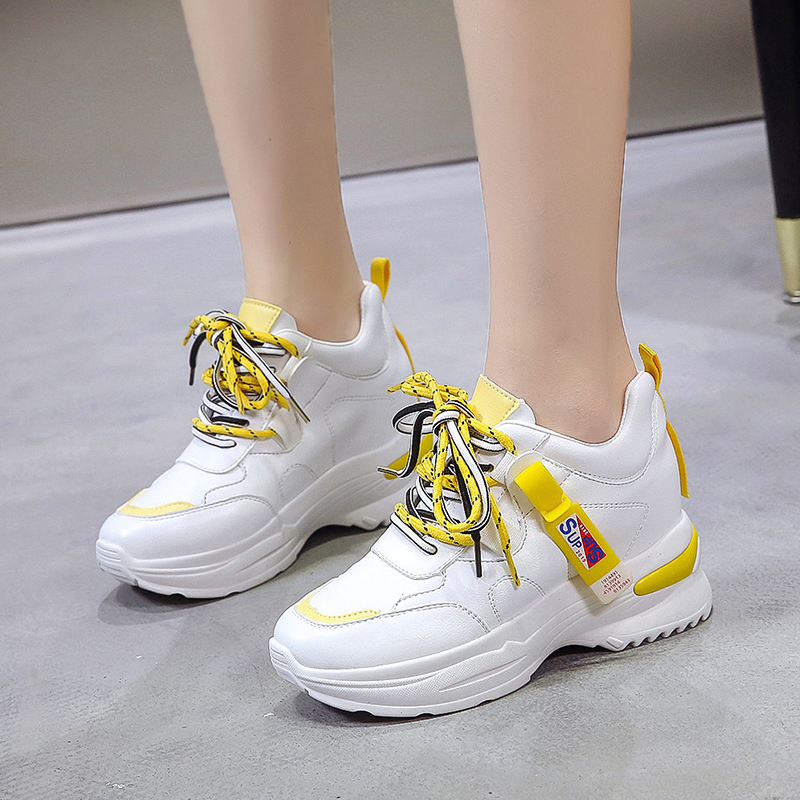 Rubber Wedges Shoes for Women Casual Shoes Comfortable Platform Sneakers Women Vulcanized Shoes Spring and Autumn Women Shoes 37