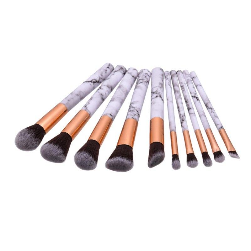 Hot Professnial Women Makeup Brushes Extremely Soft Makeup Brush Set 10pcs Foundation Powder Brush Marble Make Up Tools