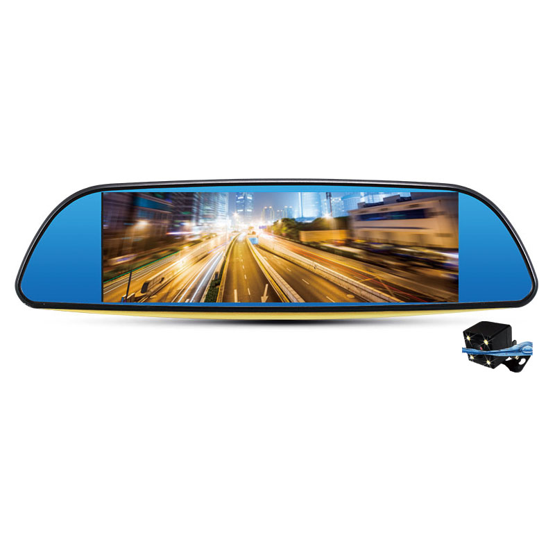 6.86 Car DVR Mirror Dual Lens Microphone 30fps Rearview Camera Dash Cam Video Motion Detection 1080P Time Date Display relaxgo 5android rearview mirror car camera gps navigation wifi car video recorder dual lens 1080p vehicle dvr parking dash cam