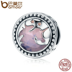 BAMOER Hot Sale Authentic 925 Sterling Silver Fantasy  Big Stone Charm Beads fit Charm Bracelet DIY Jewelry Gift SCC377