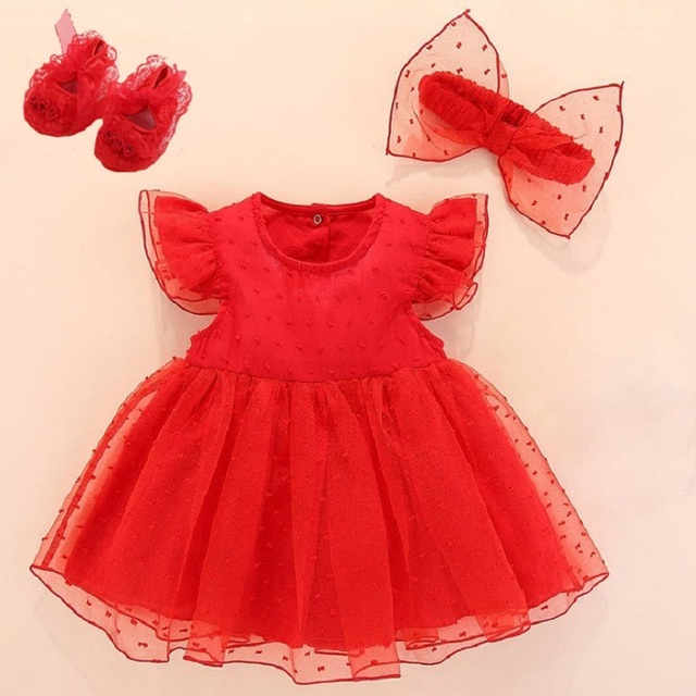 Sukienka do chrztu dziecka 2019 czerwona noworodki dziewczynek sukienka niemowlęca Vestidos Bebe biała sukienka do chrztu dla dziewczynki 3 6 9 miesięcy