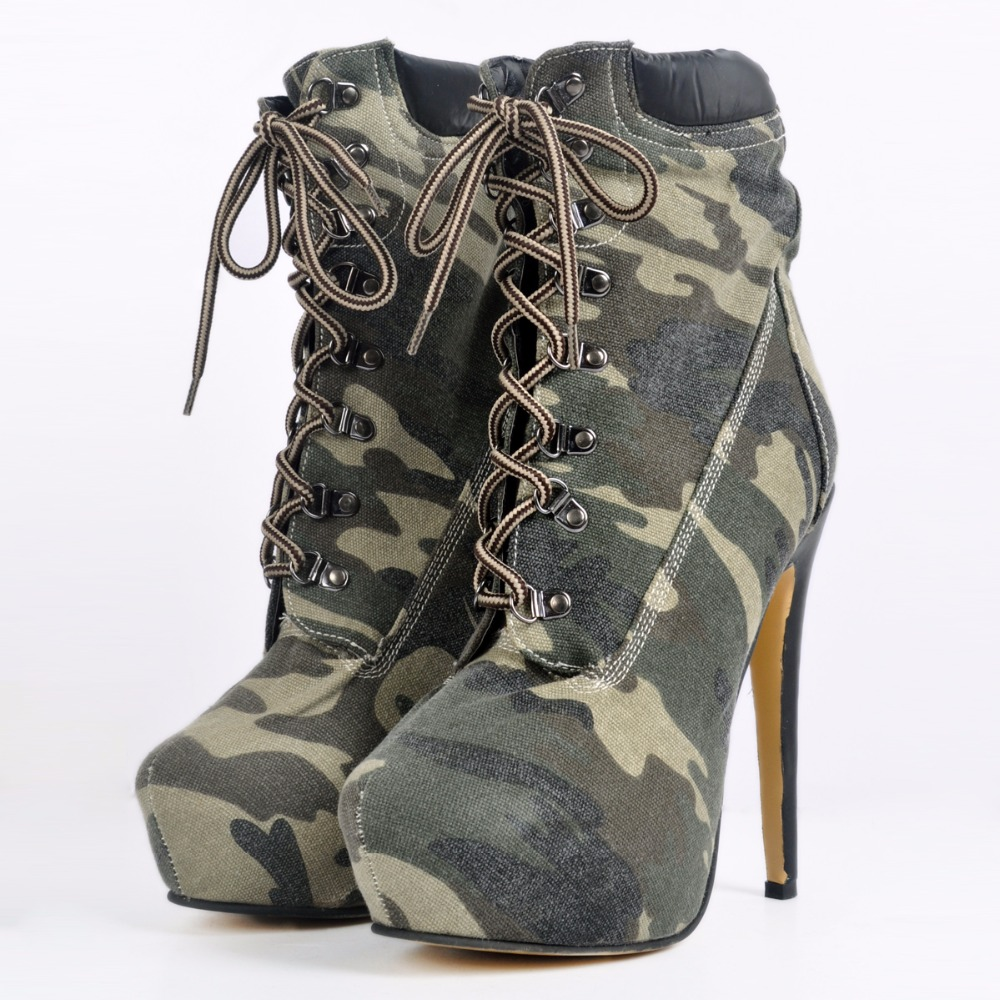 women's new boots women ankle boot new fashion autumn Army green fashion Camouflage Round Toe Lace-Up High heels Nubuck Leather fashion army green camouflage canvas shoes woman rivets thin high heels boots botas sweet lace up ankle boots women femininas