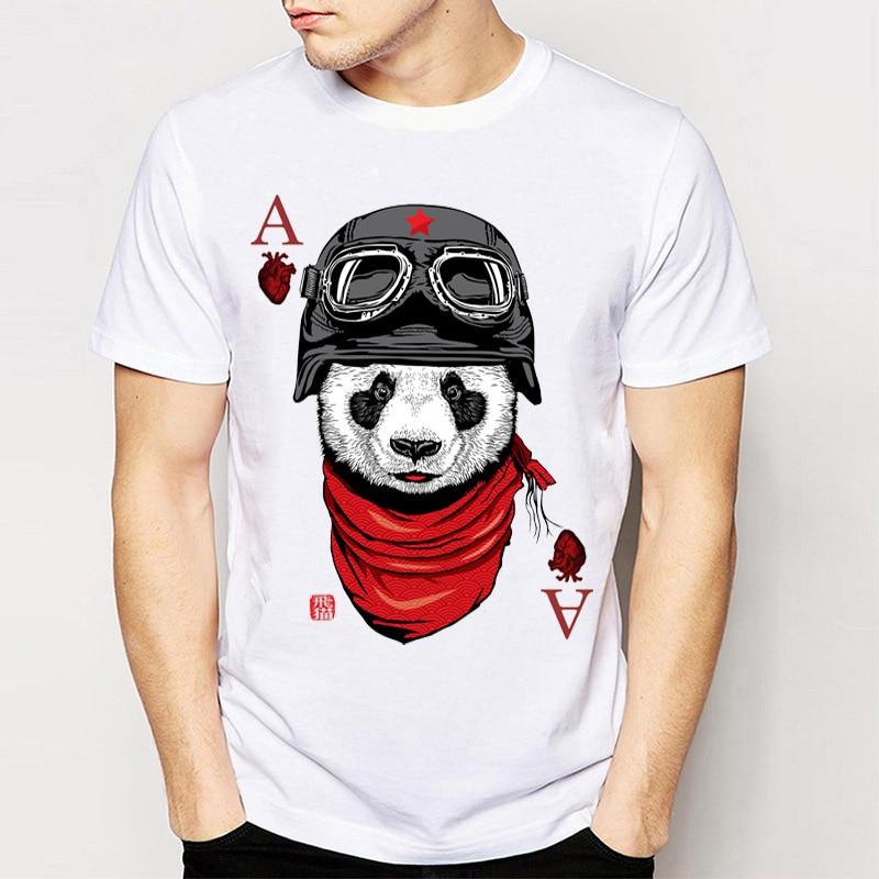 100% Vero Cuore Ace Poker T Shirt 2018 Nuovi Uomini Di Modo Di Estate T Shirt Divertente Panda Stampa T-shirt Manica Corta Cool Boy Tees Tops