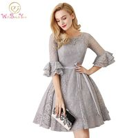Walk Beside You Gray 3 4 Long Trumpet Sleeve Bridesmaid Dresses Vestido Madrinha Plus Size Lace