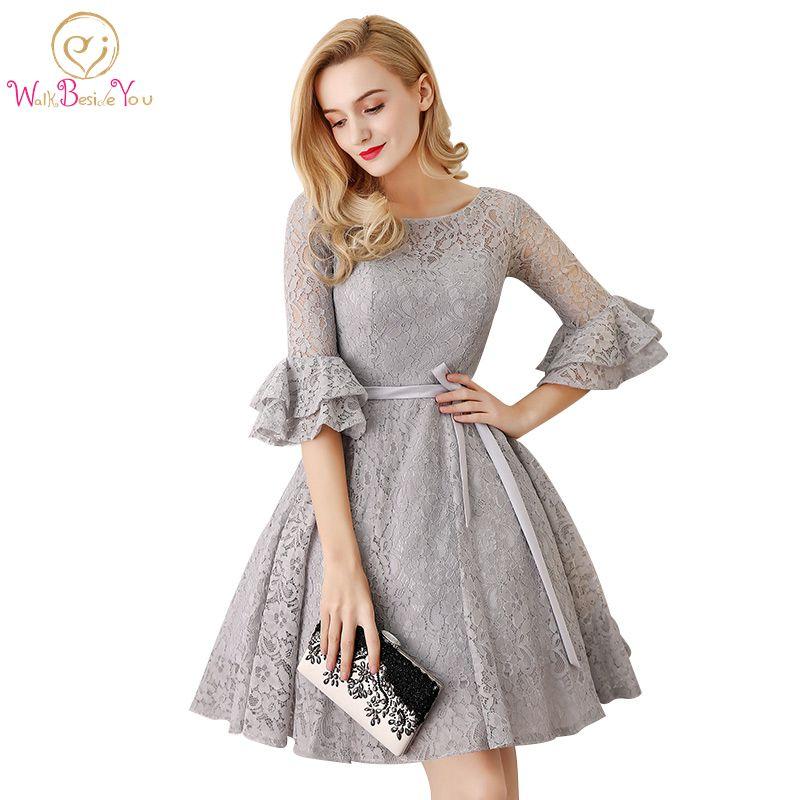 Разходка до вас Сив 3/4 дълъг ръкав рокля на шаферката Vestido Madrinha Плюс размер дантела къса рокля сватба рокля