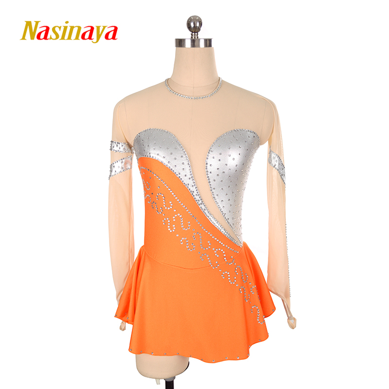 Фото Customized Costume Ice Figure Skating Gymnastics Dress Competition Adult Child Girl Skirt Performance Yellow Backless