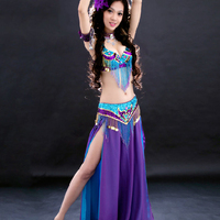 Belly Dance Costumes 2018 New Belly Dance Bra And Belt Sets Chiffon Performing Gorgeous Sexy Costumes Tribal Skirt DN1307