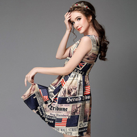 Novelty Pattern Sleeveless Dress Women Summer High Waist Fit Flare Mini Dresses Newspaper Printed Party 3xl