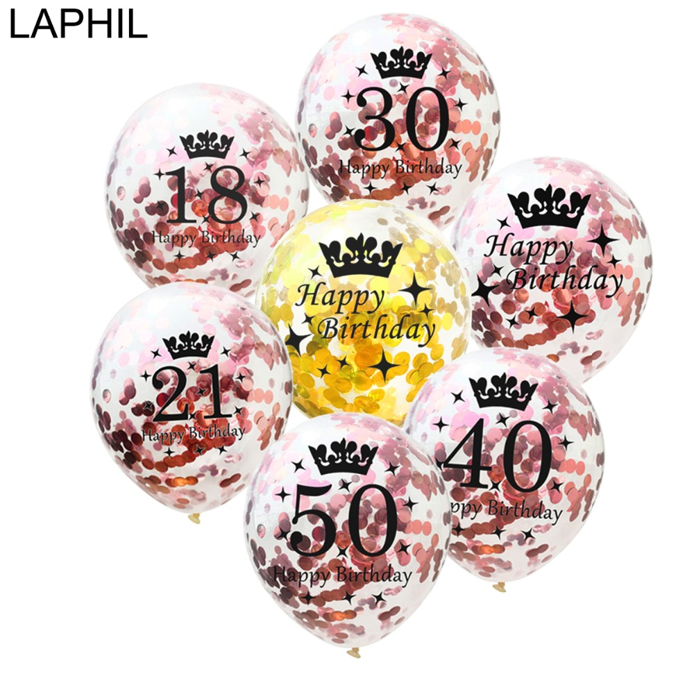 LAPHIL 15pcs Happy Birthday Balloons 12inch Rose Gold Confetti Balloon 30th Party Decorations Adult 18 21 30 40 50