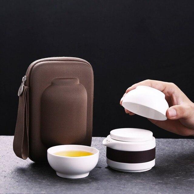 ONEISALL 1pot 2cups China Travel Mug Ceramic Tea Sets Portable Kung Fu Tea Pot with Bag Quick Cup,Tea Pot Kettle Tea mug