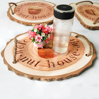 Wooden Food Serving Tray Desktop Restoring Wooden Storage Tray Letters Round Storage Box With Double Metal Handles Home Decor