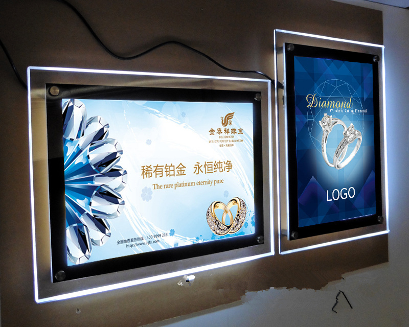 Indoor Single Sided Wall Mounted Led Display Acrylic