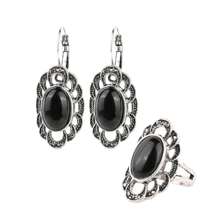 Vintage Antique Silver Plated Oval Flower Bead Black Rings Earrings Jewelry Sets Anniversary Gift