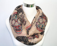 Skull Print Scarf in Deep Beige Regular finish Multi-Color Skull G c motif