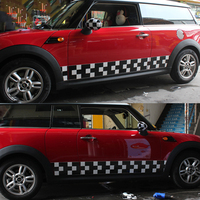 Sports Race Checker Flags Car Body Decals Side Door Skirt Stickers For Mini Cooper One JCW