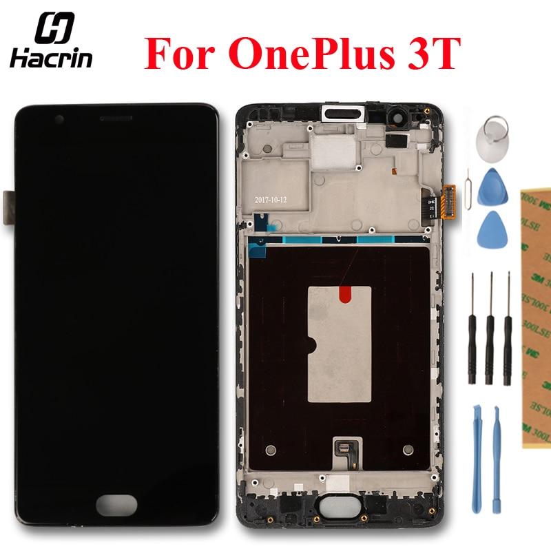Pour OnePlus 3 t LCD Affichage à L'écran Tactile Digitizer Assemblée Pour 5.5 OnePlus 3 Trois LCD Avec Cadre Remplacement pièces + Outils