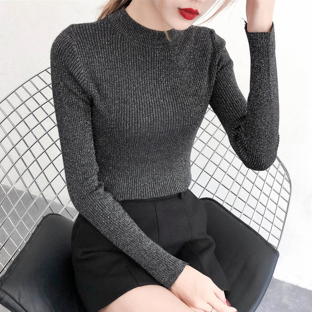 Pull Hiver Femme 2018 Autumn Winter Shiny Lurex Sweater Women Long Sleeve  Basic Pullover Lady s Sweaters Korean Fashion Knit Top 9b02a91c2