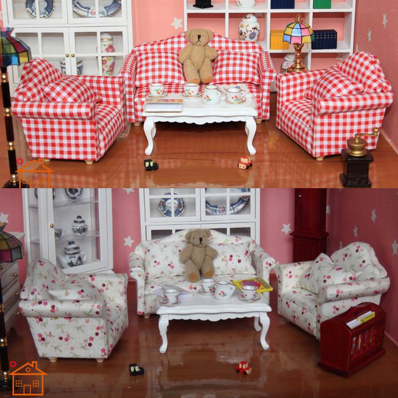 1:12 Dollhouse Living Room Sofa Table furniture Doll Play Armchair Toys 8pcs/set  Red/Beige #SA05
