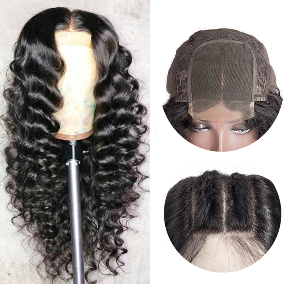 Superfect Brazilian Wig 4*4 Loose Deep Wave Lace Closure Wig Swiss Lace Closure Human Hair Wigs With Baby Hair Remy Lace Wig
