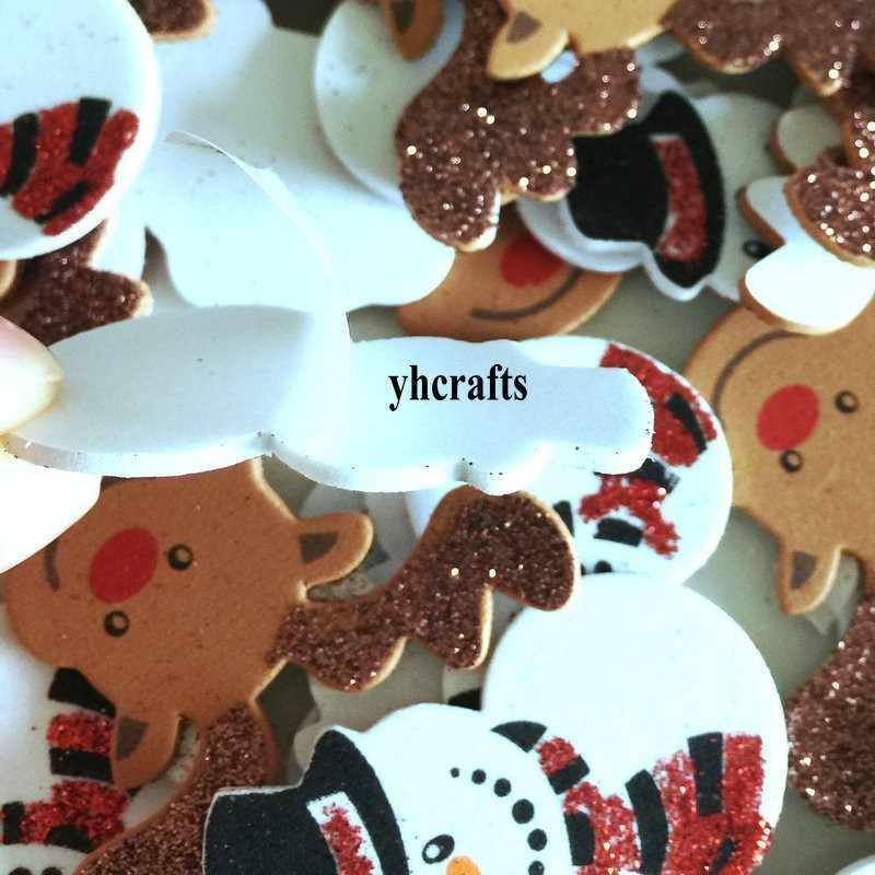 20PCS/LOT.glitter Santa snowman elk foam stickers Xmas crafts Activity items Kids room decoration Decorative christmas diy toy