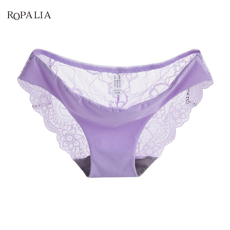 Women Lace Sexy Panties Ultra-Thin Transparent Flower Embroidered Patterned Underwear Seamless Briefs 11 Colors