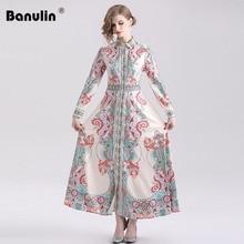 Banulin 2019 Summer Fashion Runway Vintage Long Dress Womens Sleeve Retro Printed Elegant Party Holiday Maxi Shirt