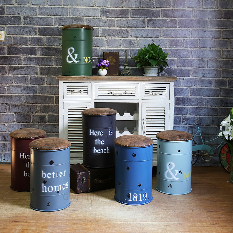 Industrial Iron Bucket Stool Bedroom Change Shoe Storage Stools Bar Bench Dining Chairs Vintage Retro Sofa Loft Decor Ottomans