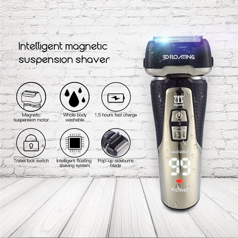 Professionale 3D Alternativo Rasoio Elettrico Ricaricabile per Gli Uomini Lavabile Barba Rasatura Trimero Triple Lame con Display LCD