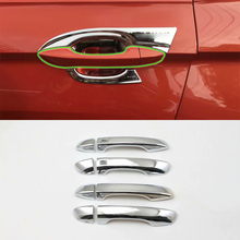 цена на Car Accessories Exterior Decoration ABS Chrome Door Handle Cover Trim With Smart Hole For Volkswagen Tiguan L 2016 Car Styling